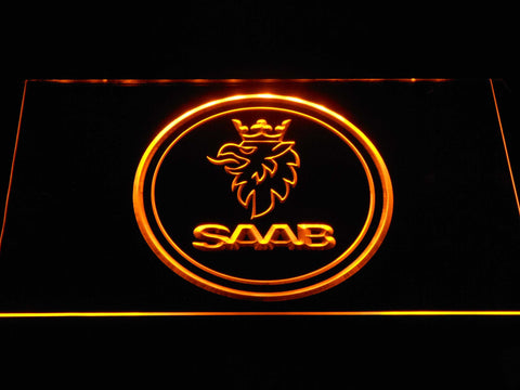 Saab Emblem LED Neon Sign - Yellow - SafeSpecial