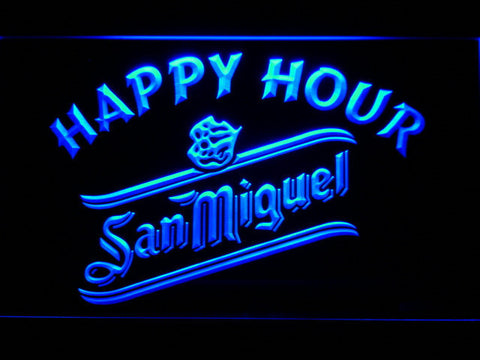 San Miguel Happy Hour LED Neon Sign - Blue - SafeSpecial