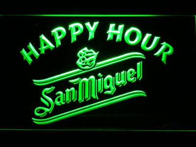 San Miguel Happy Hour LED Neon Sign - Green - SafeSpecial