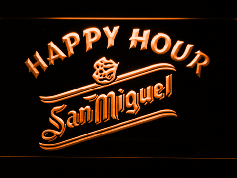 San Miguel Happy Hour LED Neon Sign - Orange - SafeSpecial