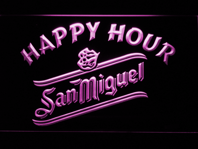 San Miguel Happy Hour LED Neon Sign - Purple - SafeSpecial