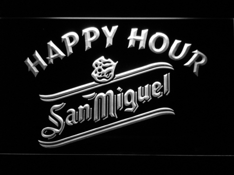 San Miguel Happy Hour LED Neon Sign - White - SafeSpecial