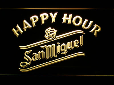 San Miguel Happy Hour LED Neon Sign - Yellow - SafeSpecial