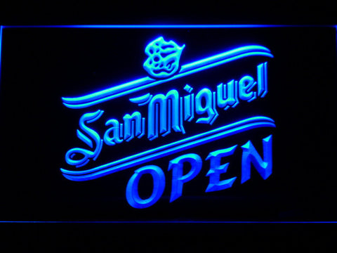 Image of San Miguel Open LED Neon Sign - Blue - SafeSpecial