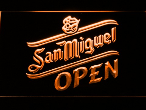 Image of San Miguel Open LED Neon Sign - Orange - SafeSpecial