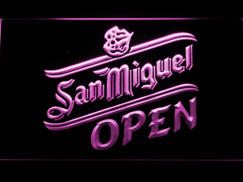 Image of San Miguel Open LED Neon Sign - Purple - SafeSpecial