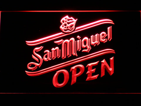 Image of San Miguel Open LED Neon Sign - Red - SafeSpecial