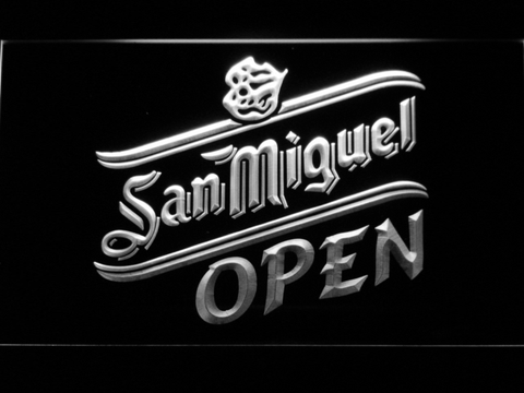 Image of San Miguel Open LED Neon Sign - White - SafeSpecial