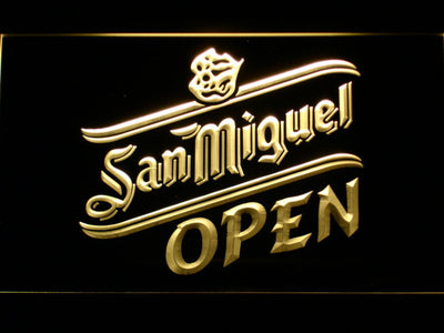 San Miguel Open LED Neon Sign - Yellow - SafeSpecial