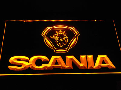 Scania Wordmark LED Neon Sign - Yellow - SafeSpecial