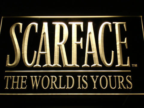 Scarface The World is Yours LED Neon Sign - Yellow - SafeSpecial