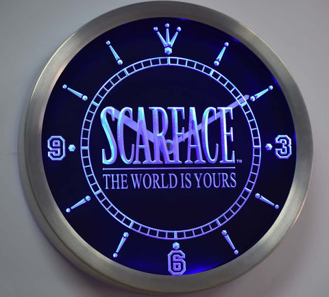 Scarface The World is Yours LED Neon Wall Clock - Blue - SafeSpecial