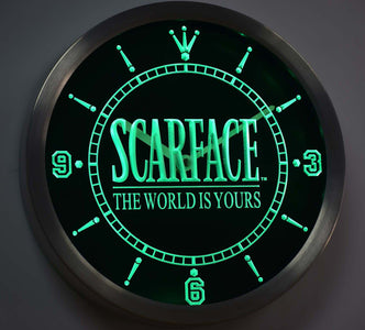 Scarface The World is Yours LED Neon Wall Clock - Green - SafeSpecial