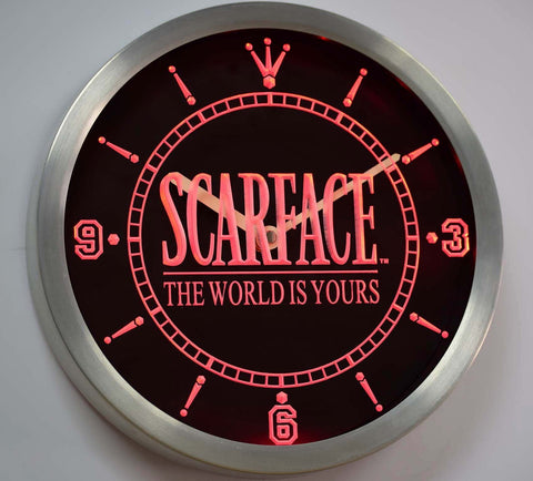 Scarface The World is Yours LED Neon Wall Clock - Red - SafeSpecial