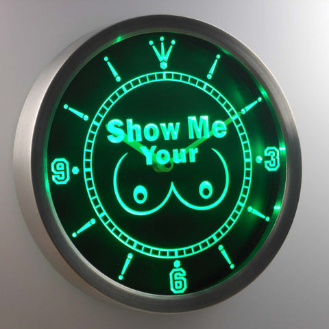 Show Me Your LED Neon Wall Clock - Green - SafeSpecial