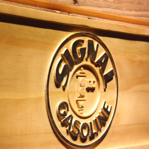 Image of Signal Gasoline Wooden Sign - - SafeSpecial