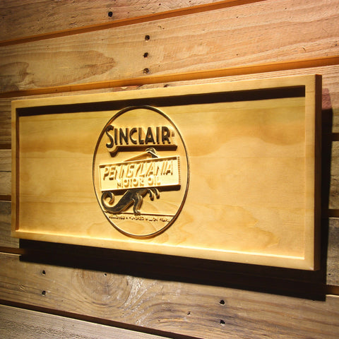 Image of Sinclair Motor Oil Wooden Sign - - SafeSpecial