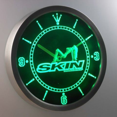 Image of Skin Industries 1 LED Neon Wall Clock - Green - SafeSpecial
