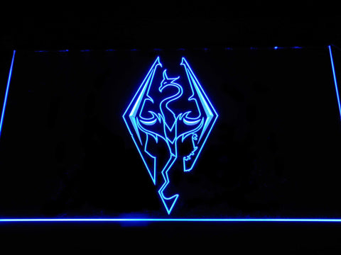 Image of Skyrim Dragon Logo LED Neon Sign - Blue - SafeSpecial