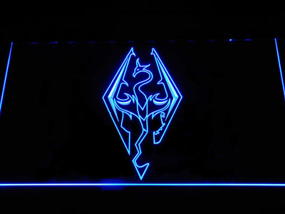 Skyrim Dragon Logo LED Neon Sign - Blue - SafeSpecial