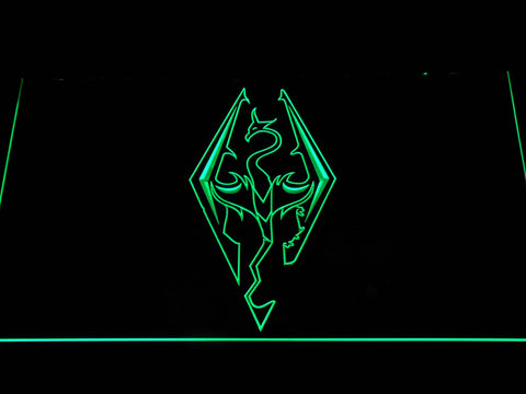 Image of Skyrim Dragon Logo LED Neon Sign - Green - SafeSpecial