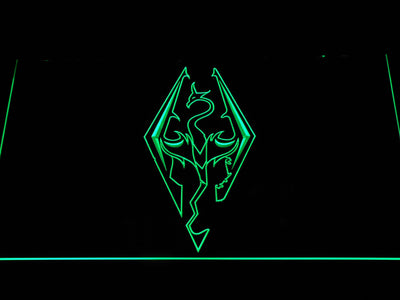 Skyrim Dragon Logo LED Neon Sign - Green - SafeSpecial