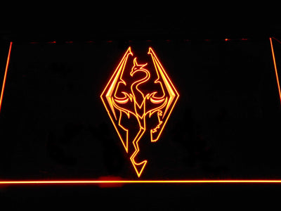 Skyrim Dragon Logo LED Neon Sign - Orange - SafeSpecial