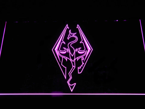 Image of Skyrim Dragon Logo LED Neon Sign - Purple - SafeSpecial