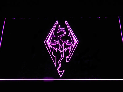 Skyrim Dragon Logo LED Neon Sign - Purple - SafeSpecial