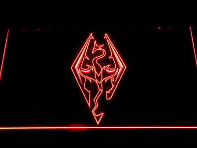 Skyrim Dragon Logo LED Neon Sign - Red - SafeSpecial