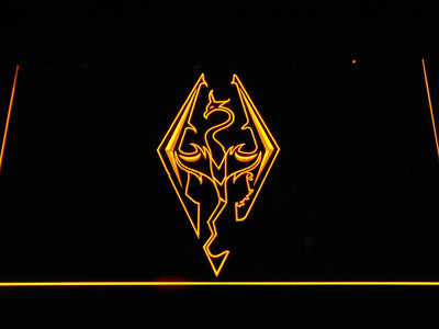 Skyrim Dragon Logo LED Neon Sign - Yellow - SafeSpecial