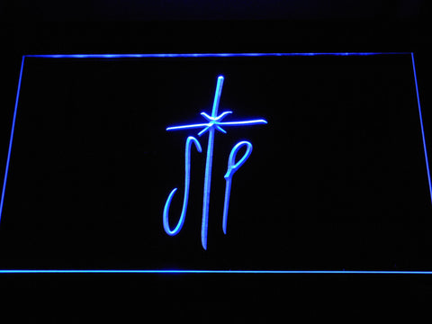 Image of Smashing Pumpkins Cross LED Neon Sign - Blue - SafeSpecial