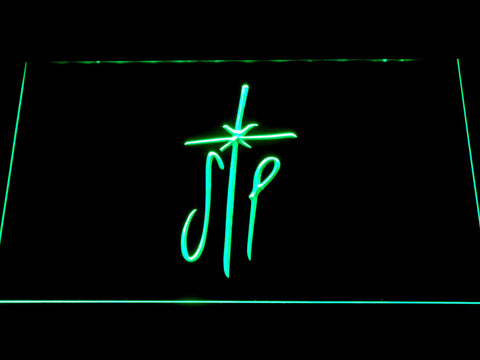 Image of Smashing Pumpkins Cross LED Neon Sign - Green - SafeSpecial