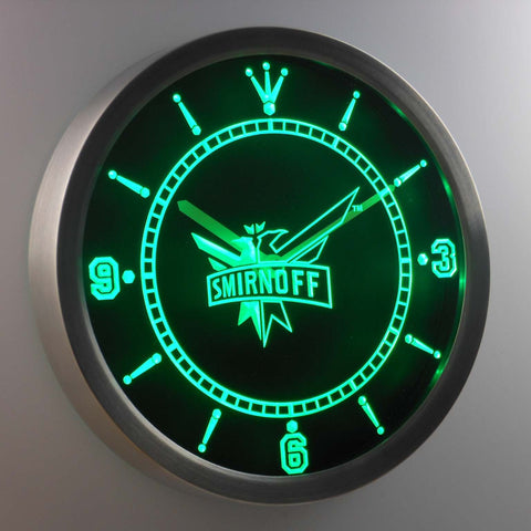 Image of Smirnoff LED Neon Wall Clock - Green - SafeSpecial