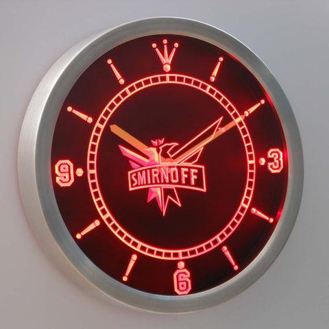 Image of Smirnoff LED Neon Wall Clock - Red - SafeSpecial