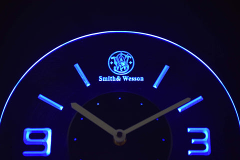 Image of Smith & Wesson Modern LED Neon Wall Clock - Blue - SafeSpecial