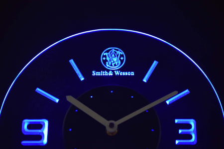 Smith & Wesson Modern LED Neon Wall Clock - Blue - SafeSpecial