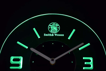 Smith & Wesson Modern LED Neon Wall Clock - Green - SafeSpecial