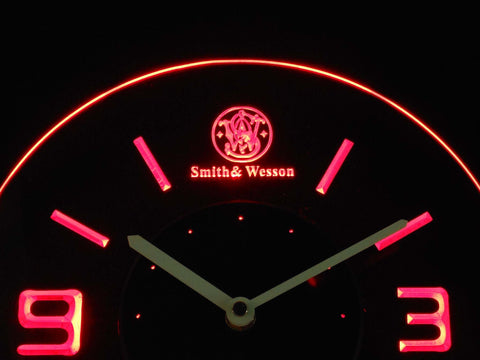 Image of Smith & Wesson Modern LED Neon Wall Clock - Red - SafeSpecial