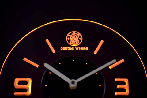 Image of Smith & Wesson Modern LED Neon Wall Clock - Yellow - SafeSpecial
