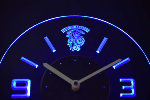Image of Sons of Anarchy Modern LED Neon Wall Clock - Blue - SafeSpecial