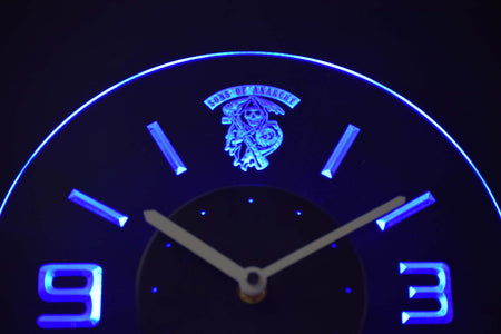 Sons of Anarchy Modern LED Neon Wall Clock - Blue - SafeSpecial