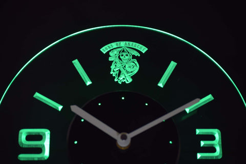 Image of Sons of Anarchy Modern LED Neon Wall Clock - Green - SafeSpecial