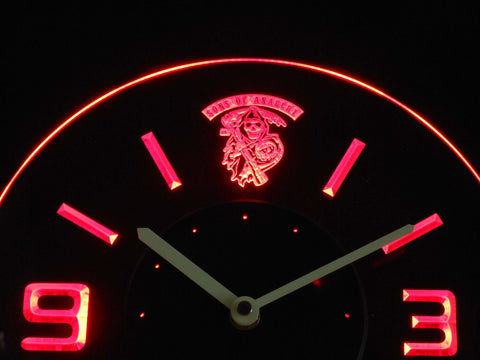 Image of Sons of Anarchy Modern LED Neon Wall Clock - Red - SafeSpecial