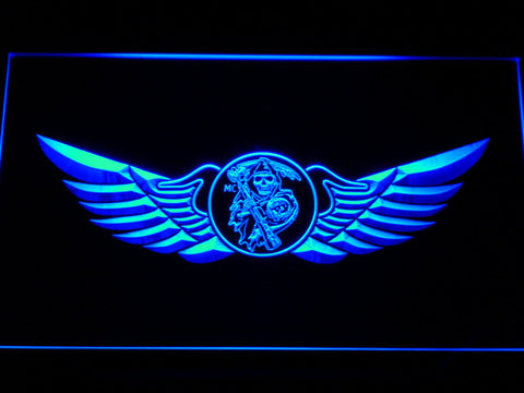 Image of Sons of Anarchy Wings LED Neon Sign - Blue - SafeSpecial