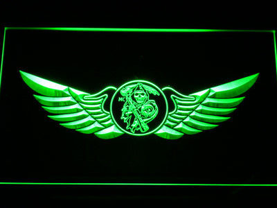 Sons of Anarchy Wings LED Neon Sign - Green - SafeSpecial