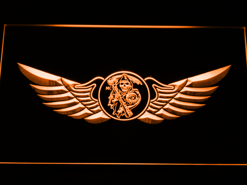Image of Sons of Anarchy Wings LED Neon Sign - Orange - SafeSpecial