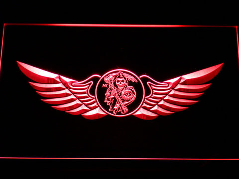Image of Sons of Anarchy Wings LED Neon Sign - Red - SafeSpecial