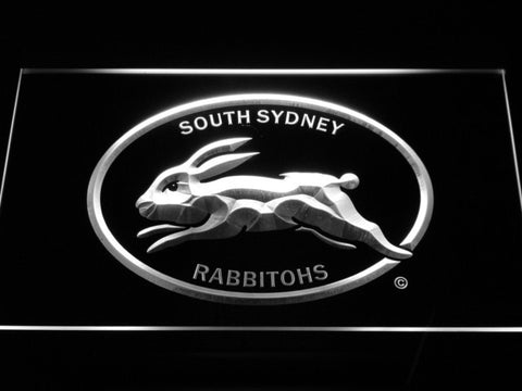 Image of South Sydney Rabbitohs LED Neon Sign - Legacy Edition - White - SafeSpecial