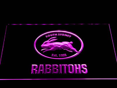 South Sydney Rabbitohs LED Neon Sign - Purple - SafeSpecial